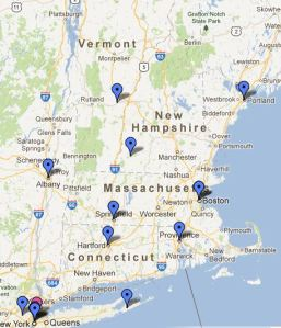 "These are the locations in the Northeast where ""Light the Way to Justice"" Candlelight Vigils will be held."