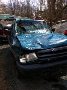 This small pick-up truck, now released from Woodstock Police  as evidence,  was involved in Saturday's accident on Rt. 106 in South Woodstock